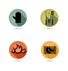barbecue icons set bbq food sign party collection vector image
