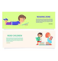 children reading zone information vector image