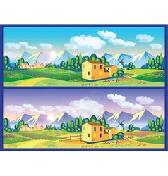 countryside in the spring and summer vector image vector image