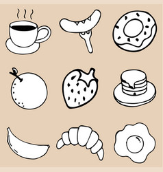 hand drawing breakfast doodle icon design vector image vector image