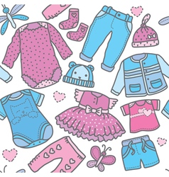 Seamless pattern children clothing vector image