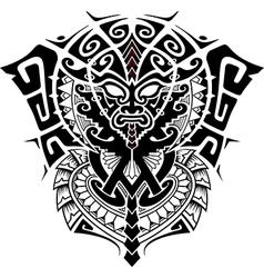 Tribal God Mask with Alpha and Omega symbol vector image