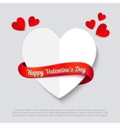 Valentines day abstract background cut paper heart vector image