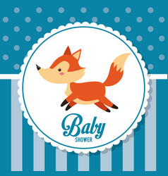 Baby shower card invitation cute fox decoration vector