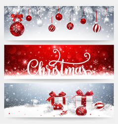 christmas banners set with balls and gifts vector image