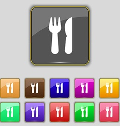 crossed fork over knife icon sign Set with eleven vector image