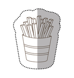 figure fries french fast food icon vector image vector image