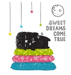 Funny Cute Little Black Monster Sleeping Dreams vector image