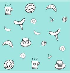 hand drawing breakfast doodle background vector image vector image