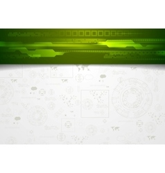 Hi-tech corporate background with green header vector