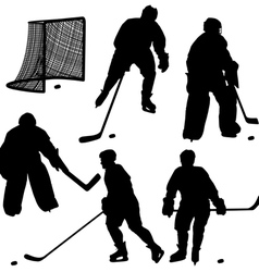 Set of silhouettes of hockey player Isolated on wh vector image