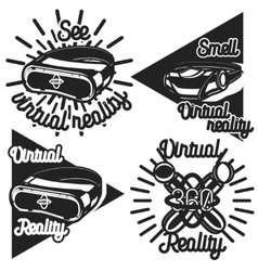 Vintage Virtual Reality emblems vector image