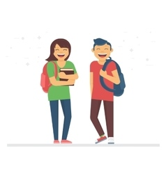 Young students or schoolmates with school bags and vector image vector image
