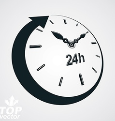 3d 24 hours clock black and white Day-and-n vector image