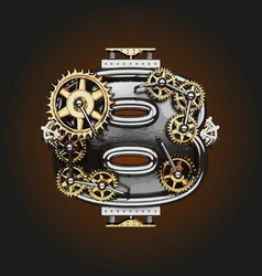 8 letter with gears vector
