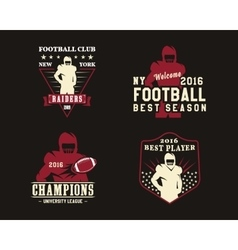 American football player team badges logos vector image