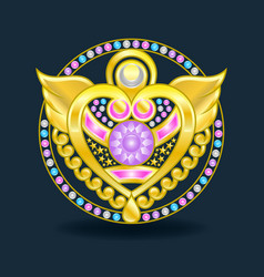 An example a golden amulet with precious stones vector