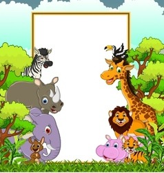 Animal wildlife cartoon with blank sign and forest vector