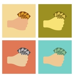 Assembly flat icons poker money in hand vector