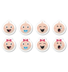 Baby boy baby girl face - crying with soother vector image
