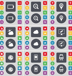 Battery Magnifying glass Checkpoint Cloud Monitor vector image