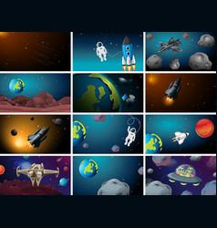 Big set space scenes vector