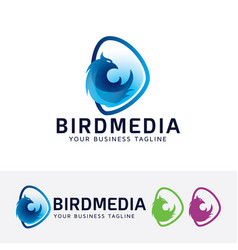 bird media logo design vector image
