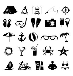 black summer icons vector image