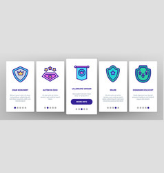 Blazon shield shapes onboarding icons set vector