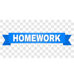 Blue ribbon with homework title vector