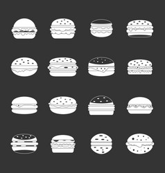 Burger icons set grey vector