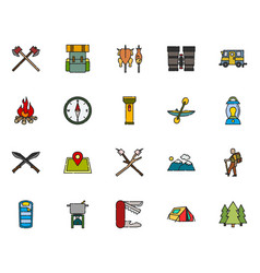 camping icon collection filled outline style vector image