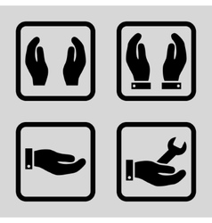 Care Hands Flat Squared Icon vector image