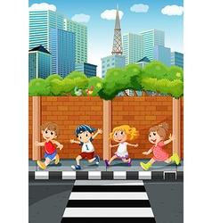 Children running on the sidewalk vector