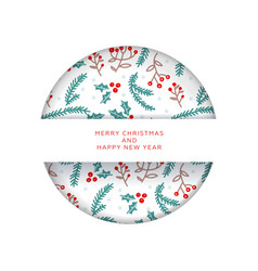 christmas invitation or greeting card in paper cut vector image