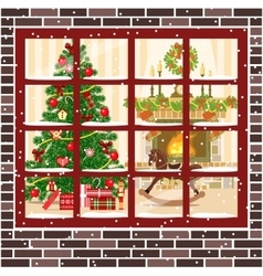 Christmas room with fireplace furniture xmas tree vector image