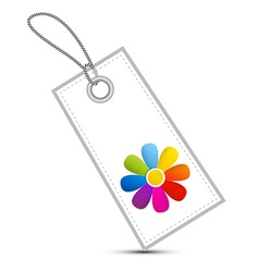 Colorful Flower on White Label - Tag with String vector image vector image