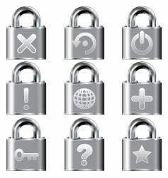 Computer desktop lock icons vector