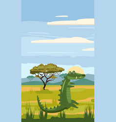 crocodile cute cartoon style in background vector image