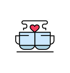 cup coffee love heart valentine flat color icon vector image