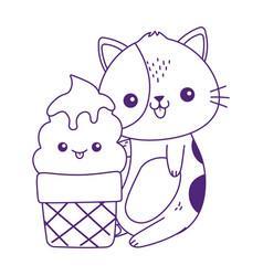 Cute little cat with ice cream kawaii cartoon vector
