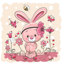 Cute rabbit with on a pink background vector