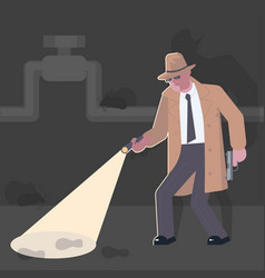 detective with a gun vector image