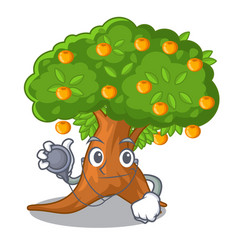 Doctor orange tree isolated with the mascot vector