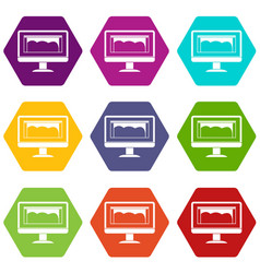 drawing monitor icon set color hexahedron vector image