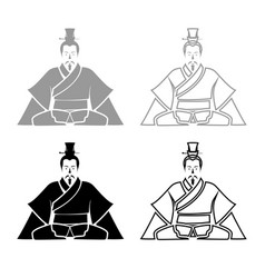emperor of china iconset grey black color vector image