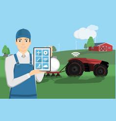farmer controls a autonomous tractor vector image