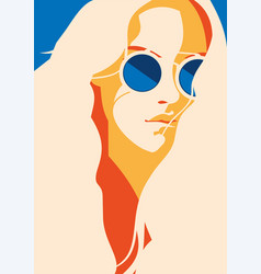 Fashion portrait of a model girl with sunglasses vector