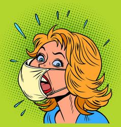 Female patient coughs coronavirus infection vector
