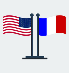 flag of united states and franceflag stand vector image
